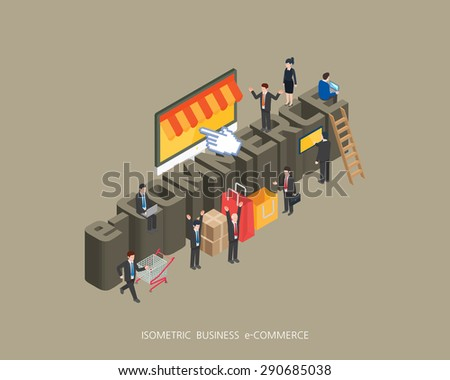 Flat 3d isometric vector illustration e-commerce concept design, Abstract urban modern style, high quality business series.  - stock vector
