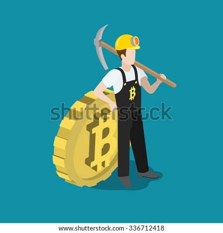Flat 3d isometry isometric bitcoin mining miner pick concept web infographics vector illustration. Miner profession worker with pickaxe and big bit coin. Creative people collection. - stock vector