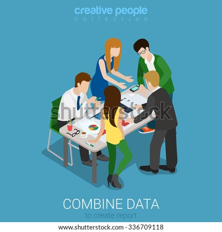 Flat 3d isometry isometric combine data to create graphic report concept web infographics vector illustration. Meeting room team work on codument. Creative people collection. - stock vector