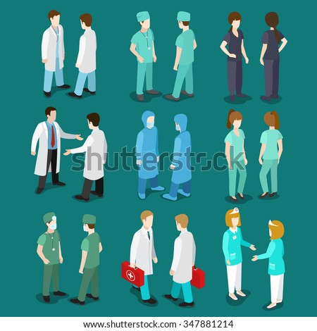 Flat 3d isometry isometric doctor nurse surgeon orderly icon set concept web infographics vector illustration. Healthcare medicine professional conceptual. Creative people collection. - stock vector