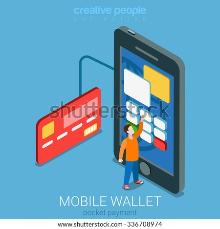 Flat 3d isometry isometric mobile wallet payment transaction processing concept web infographics vector illustration. Micro casual man entering PIN code on big smartphone. Creative people collection. - stock vector