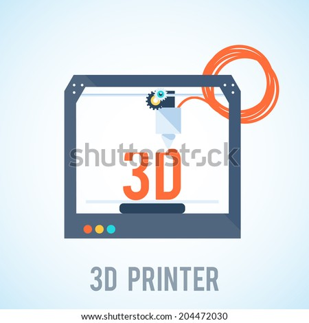 flat 3d printer printering 3d - stock vector