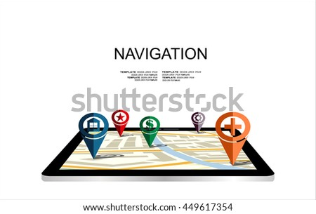 Flat 3d tablet with map navigation, concept of navigator technology.