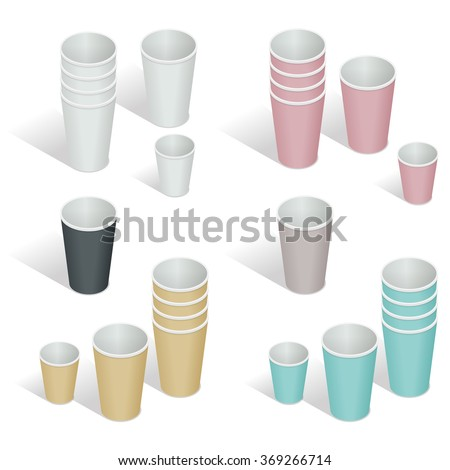 Flat 3d Vector isometric illustration. Paper cup set. Paper coffee cups on a white background - stock vector