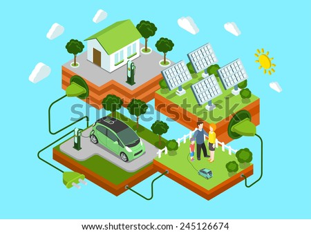 Flat 3d web isometric alternative eco green energy lifestyle infographic concept vector. Electric car sun batteries family house on green lawn cord connection. Ecology power consumption collection. - stock vector