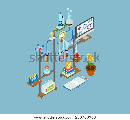 Flat 3d web isometric science research lab, test laboratory experiment equipment infographic concept vector. Physics, chemical, biological chain reaction innovation scientific process icons collage. - stock vector