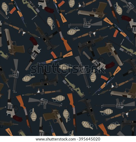 flat dark seamless pattern weapons in vector format eps10 - stock vector