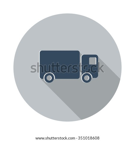 Flat Delivery Truck icon with long shadow on grey circle