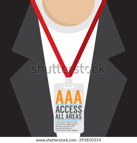 Flat Design Access All Area Staff Card Vector Illustration - stock vector