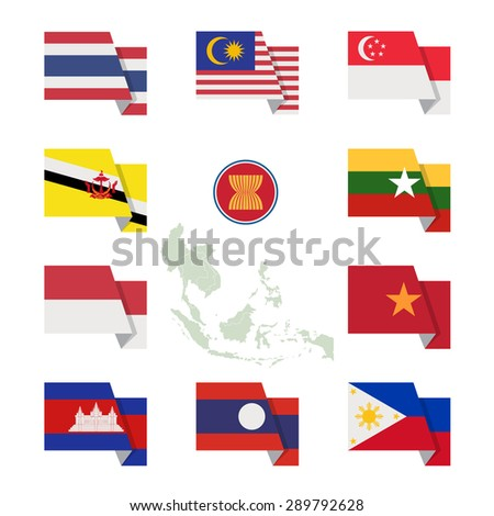Flat design AEC flag set, Vector symbol