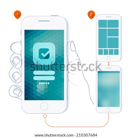 Flat design and ui web elements for mobile app and website. UI flat  web elements schematic diagram and schematically drawn hand holding a phone for you.  - stock vector