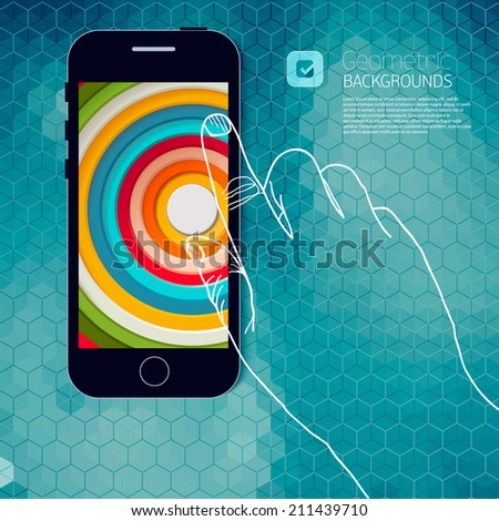 Flat design and ui web elements for mobile app and website. UI flat web elements schematically drawn hand holding a phone for you. - stock vector