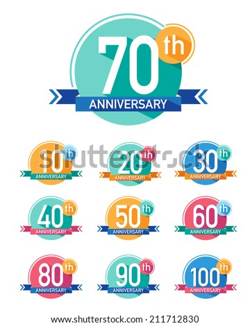 Flat design anniversary emblems. Set of anniversary icons with long shadows. - stock vector