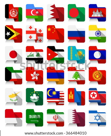 Flat Design Asian Waving Flags.All elements are separated in editable layers clearly labeled.