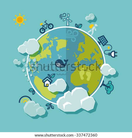 Flat design background about a ecological world.  - stock vector