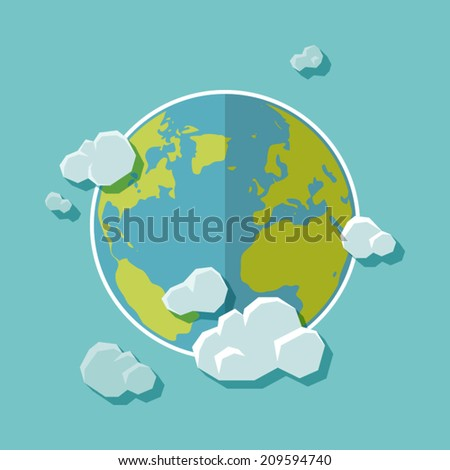 Flat design background. The Earth with clouds - stock vector