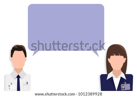 Flat design banner of business team for website with free space for your text. Speech box (dialogue) between two employees. Modern vector illustration concept, isolated.
