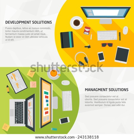 Flat Design Banners for business, development, management, and teamwork. Concepts for infographics, web and presentations - stock vector