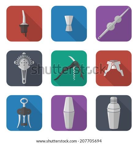 flat design barmen instruments icons set - stock vector