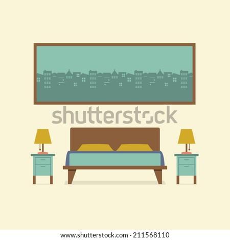 Flat Design Bedroom Interior Vector Illustration - stock vector
