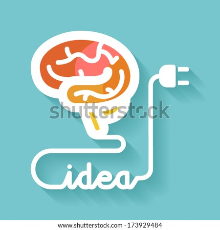 Flat design. Brain and idea. Knowledge concept. - stock vector