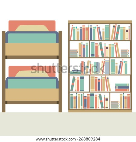 Flat Design  Bunk Bed With Big Bookcase Vector Illustration - stock vector