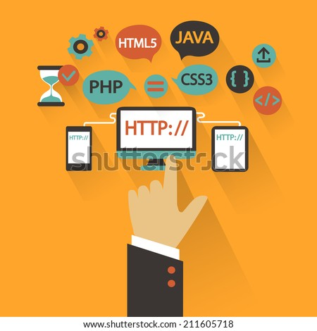 Flat design. Business concept with hand. Web development infographic. - stock vector