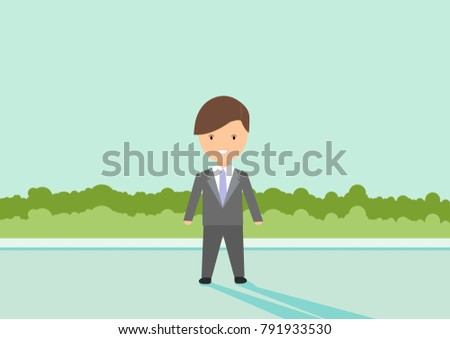 flat design business young man vector images for your project design with blue sky and shadow