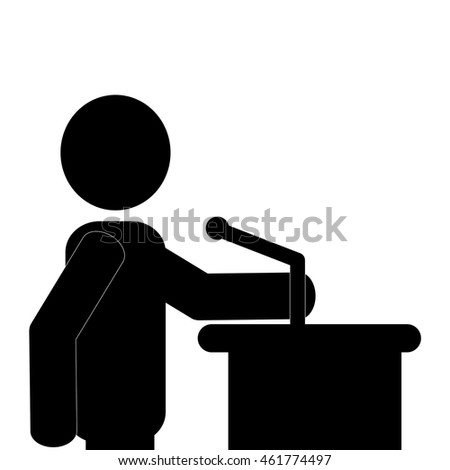flat design businessman giving speech icon vector illustration