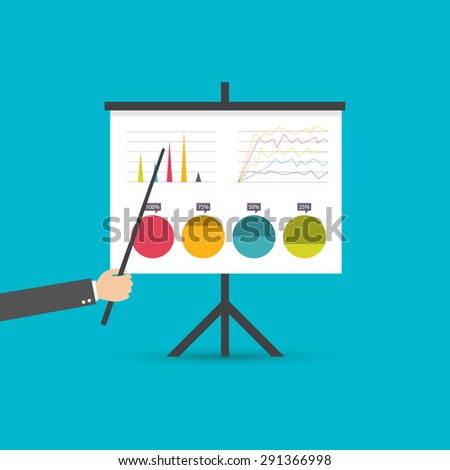 flat design businessman pointing at a board at a presentation, vector - stock vector