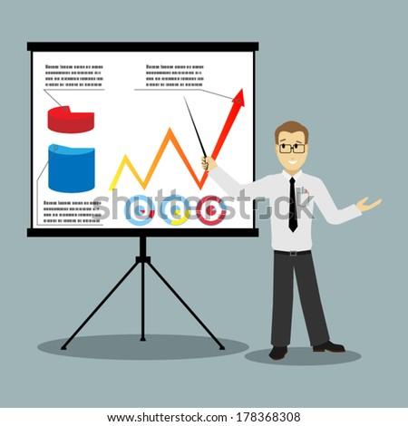 flat design businessman pointing at presentation board vector - stock vector