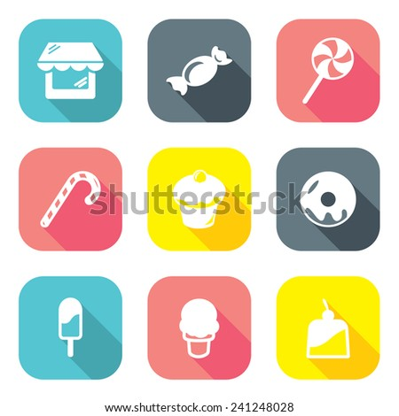 Flat Design Candy Shop Icons - stock vector