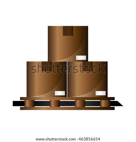 flat design cardboard boxes on wooden pallet icon vector illustration