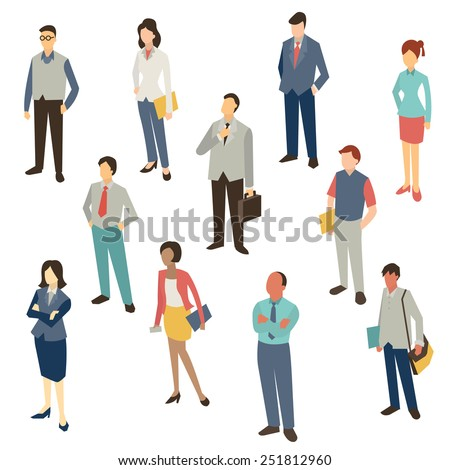Flat design character of business people, man and woman, full length, isolated on white, bird-eye-view.  - stock vector