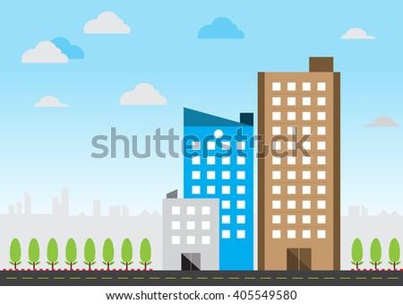 Flat design city building - stock vector