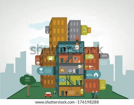 Flat design city infographic with demographic template - stock vector
