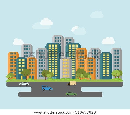 Flat design city scape. Urban landscape, building and architecture  - stock vector