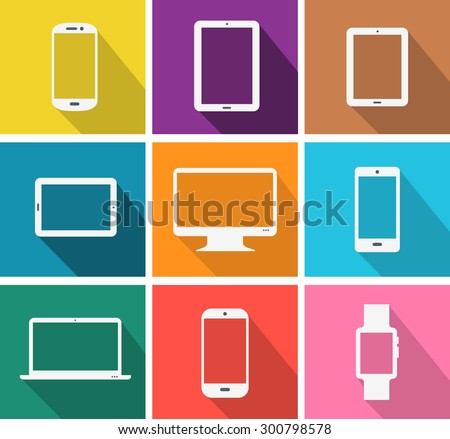 Flat design colored modern electronic gadgets - stock vector