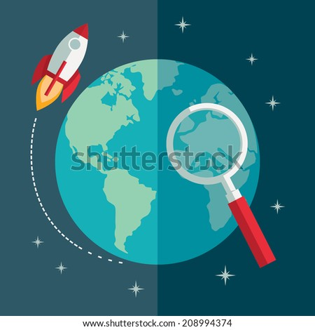 Flat design colored vector illustration concept for business idea, creativity, efficiency, successful career - stock vector