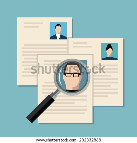 Flat design colored vector illustration concept of searching professional staff, analyzing personnel resume, recruitment, human resources management, work of hr. Isolated on stylish background - stock vector