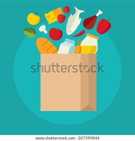 Flat design colored vector illustration of food and drink products falling down into paper bag, concept for retail. Isolated on bright background - stock vector