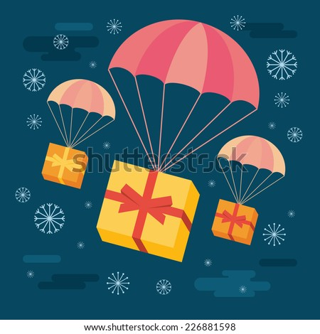 Flat design colored vector illustration of gift boxes flying down from night snowing sky with parachutes - stock vector