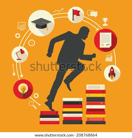 Flat design colored vector illustration of male silhouette running up along stairs of books, concept of education, learning, personal development, successful career start isolated on bright background - stock vector