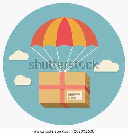 Flat design colored vector illustration of package flying down from sky with parachute, concept for delivery service - stock vector