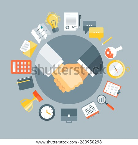 Flat design colorful vector illustration concept for agreement, successful business deal, cooperation, collaboration, partnership isolated on stylish background - stock vector