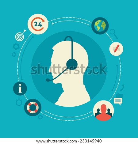 Flat design colorful vector illustration concept for call center, client support service isolated on bright background  - stock vector