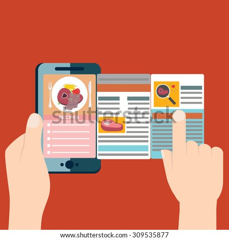 Flat design colorful vector illustration concept for cooking at home, searching recipes, culinary instructions in internet isolated on bright background