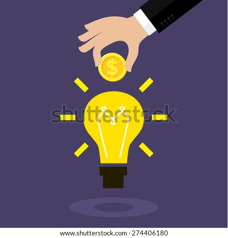 Flat design colorful vector illustration concept for crowdfunding, investing into ideas - stock vector