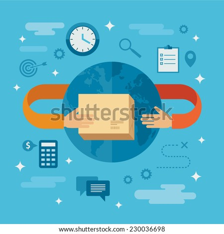 Flat design colorful vector illustration concept for delivery service working worldwide, international shipping, receiving package from courier to customer isolated on bright background  - stock vector