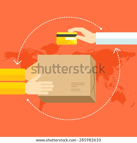 Flat design colorful vector illustration concept for delivery service working worldwide, international shipping, e-shopping, receiving package from courier to customer isolated on bright background  - stock vector